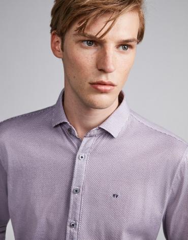 Polo chemise imprimé géométrique bleu marine/grenat