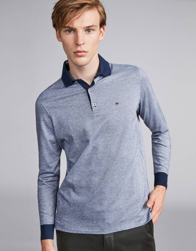 Navy blue/beige two-color polo