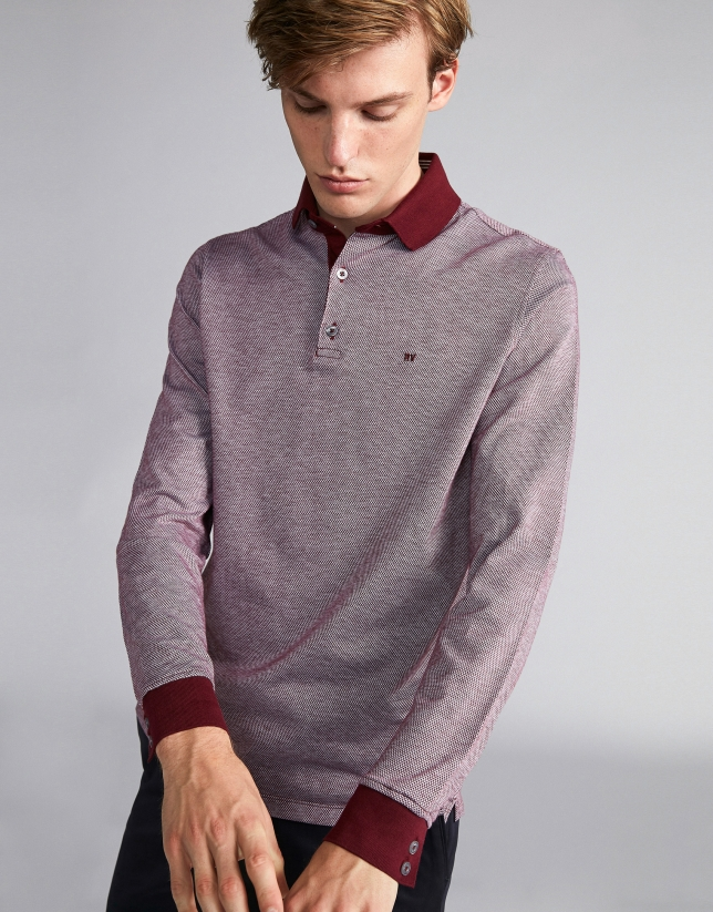 Burgundy/beige two-color polo