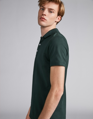 Dark green piqué polo