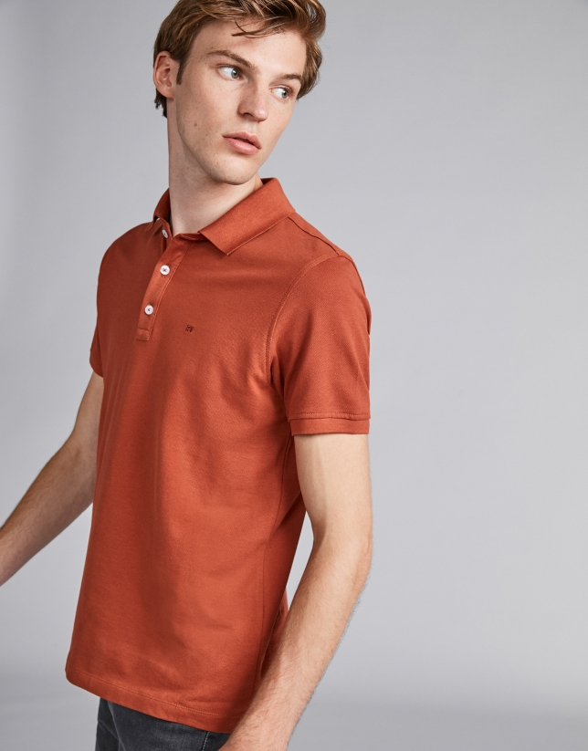 Burnt orange piqué polo