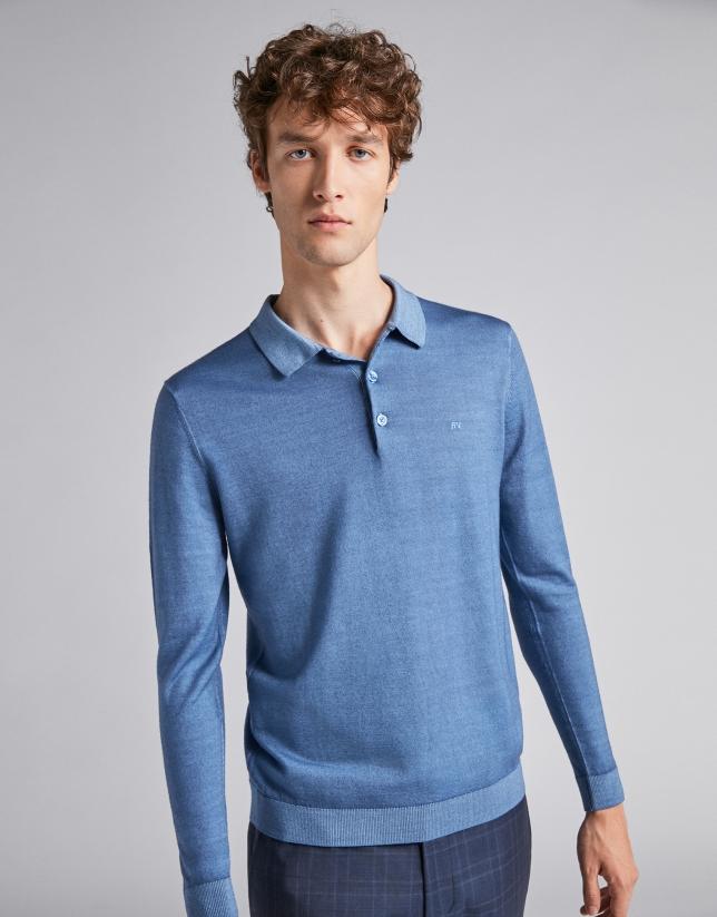 Polo de lana azul cielo