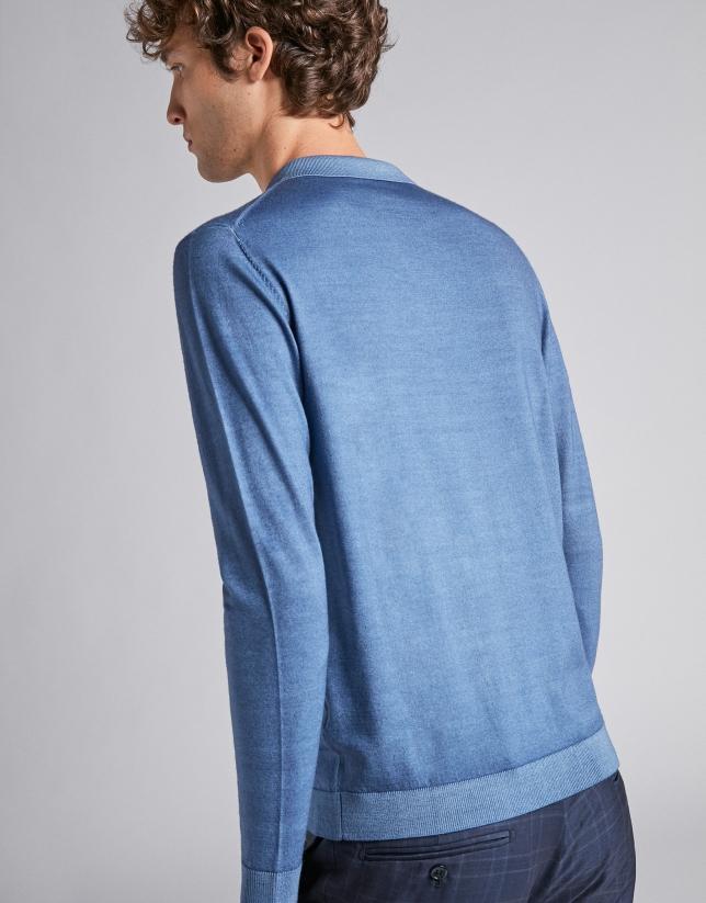 Sky blue wool polo