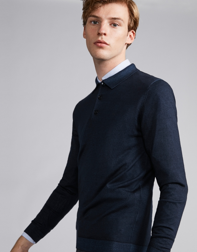 Polo en laine bleu marine