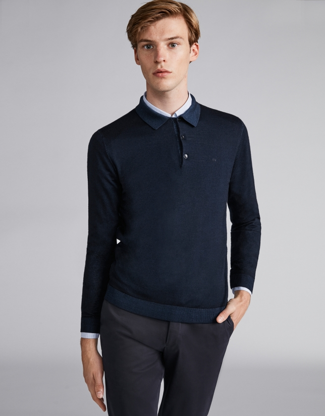 Navy blue wool polo