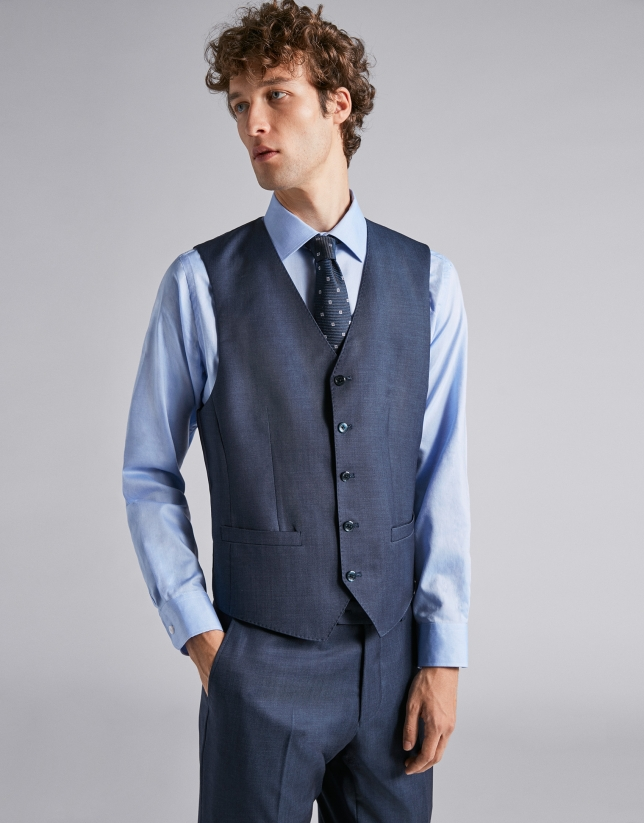 Chaleco de lana lisa azul