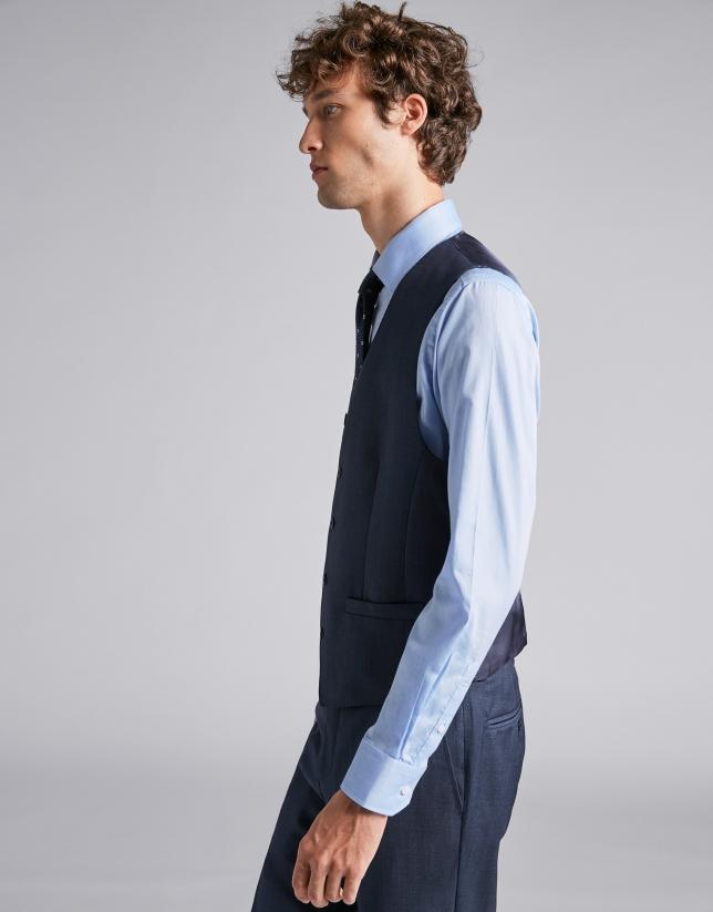 Plain blue wool vest