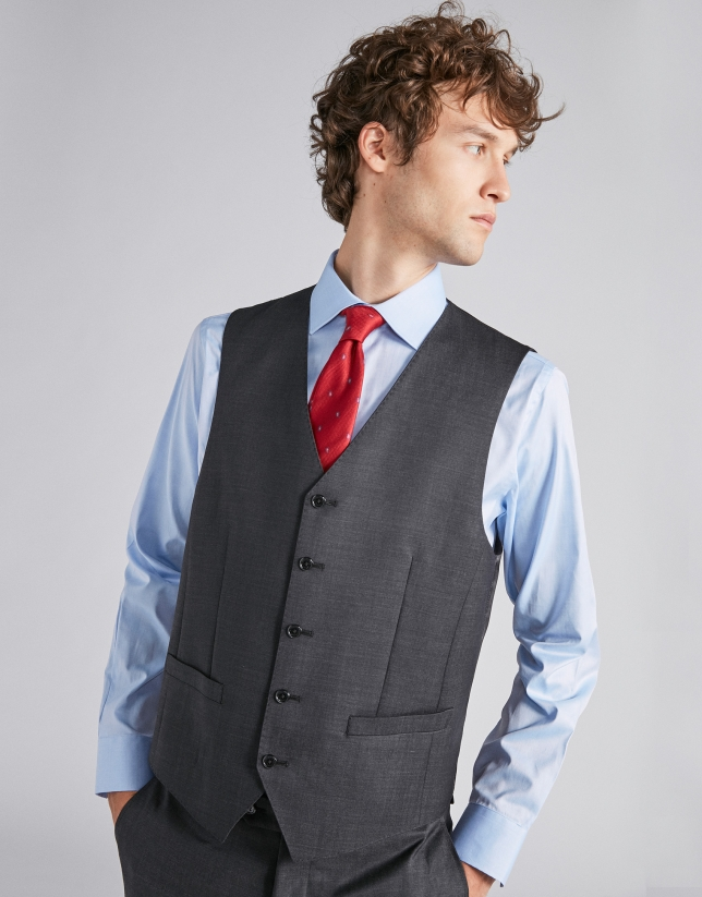 Chaleco de lana lisa gris