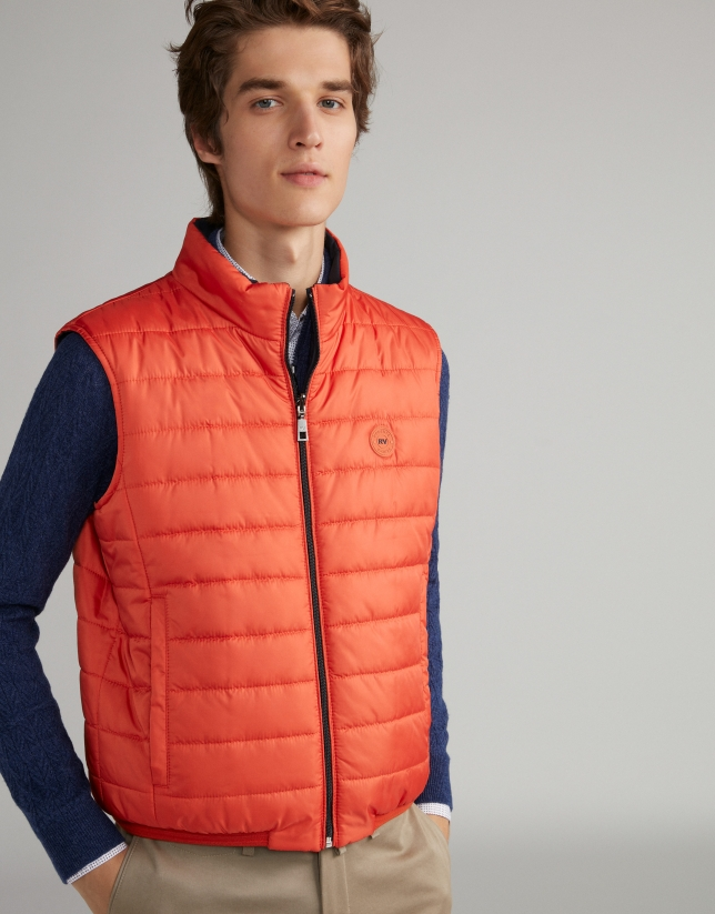 Gilet réversible orange/bleu marine