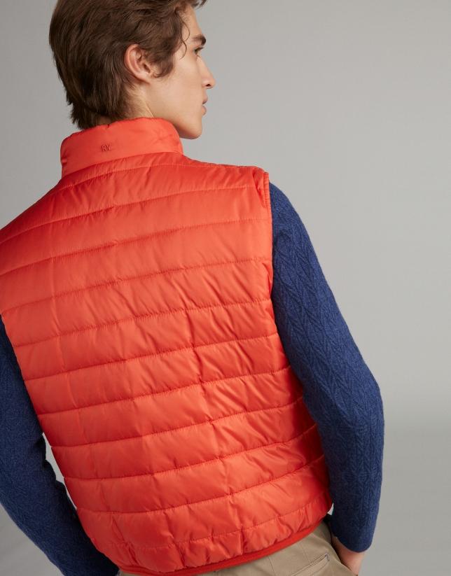 Orange/navy blue reversible vest