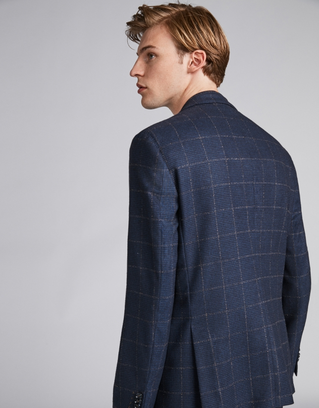 Navy blue checked suit jacket with brown lines
