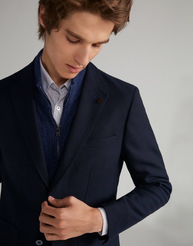 Navy blue structured sport jacket
