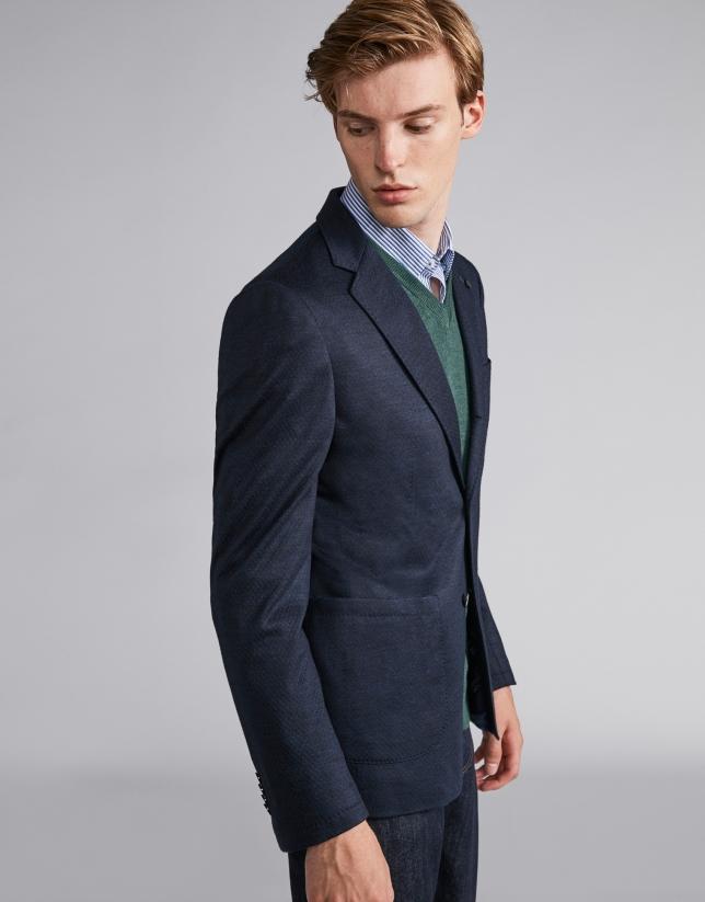 Navy blue structured wool sport jacket