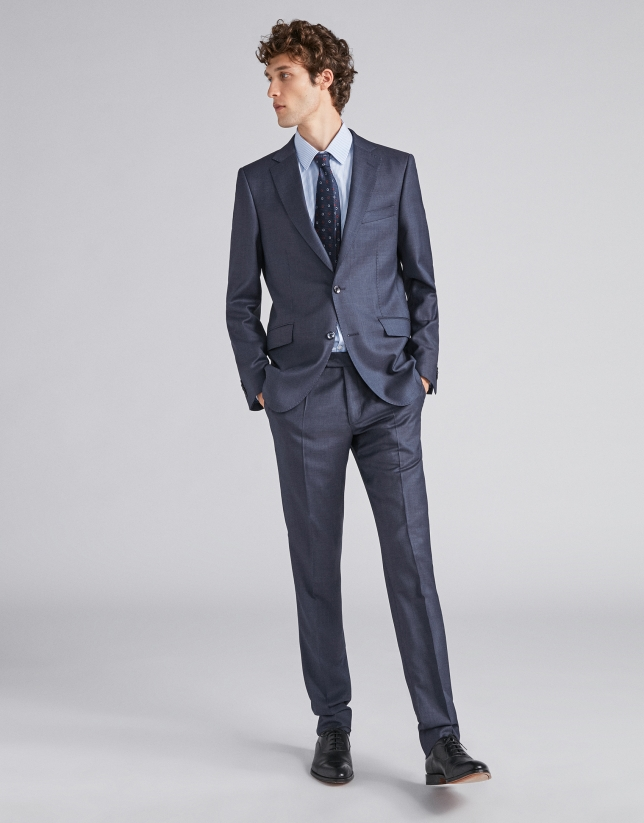 Navy blue, micro-structured wool, regular fit, suit
