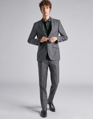 Costume coupe droite en laine faux uni grise