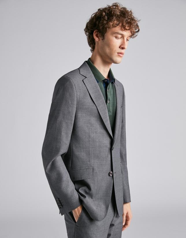 Traje regular fit lana falso liso gris