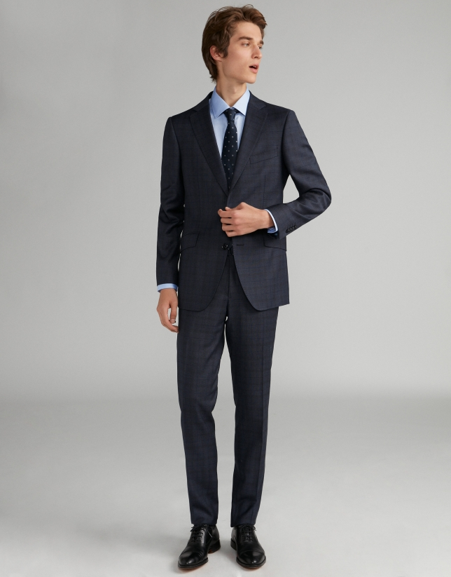 Navy blue checked, slim fit, wool suit