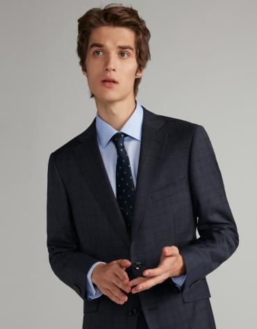 Traje slim fit lana cuadros azul marino