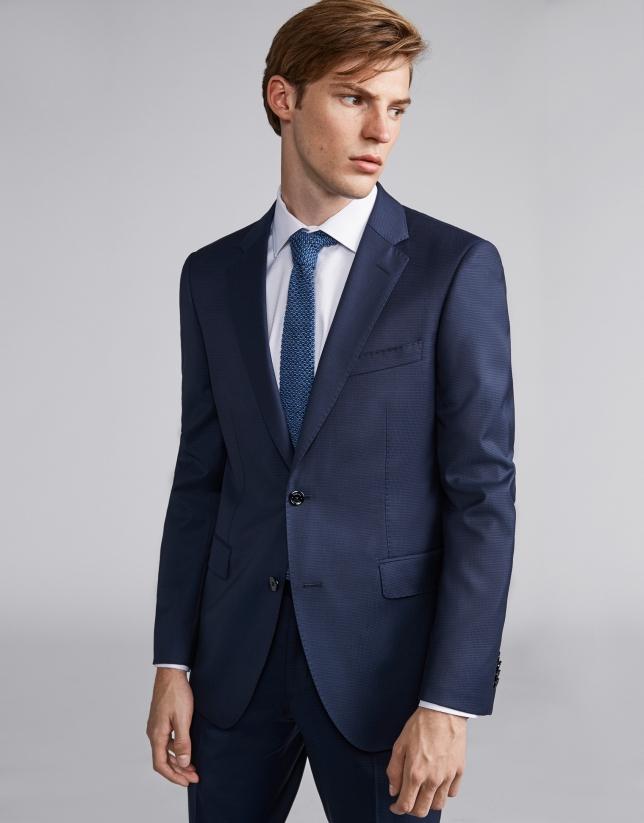 Traje slim fit falso liso lana azulón
