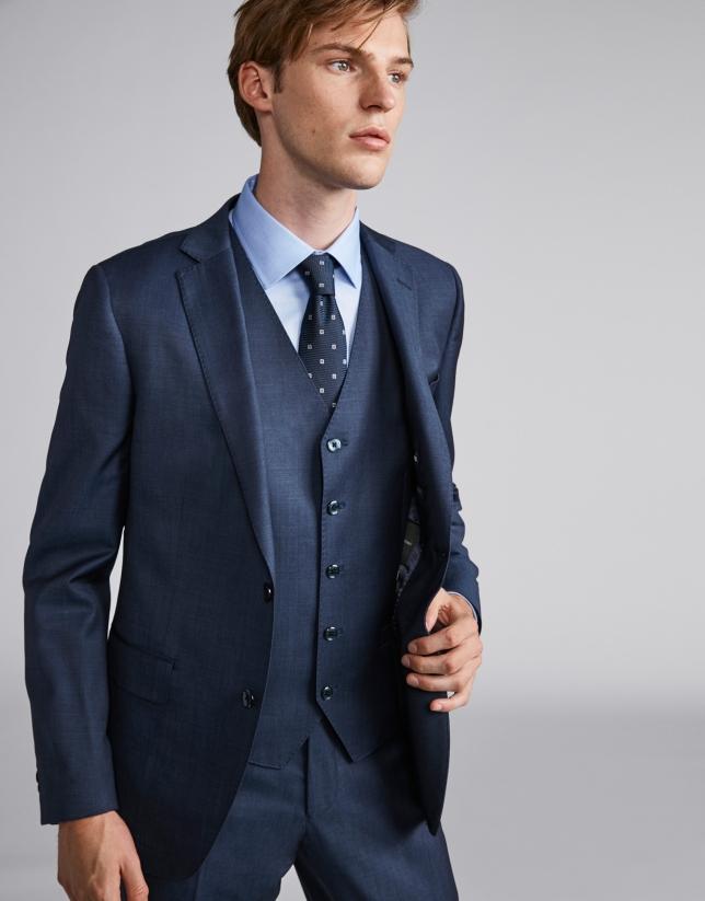 Traje slim fit lana azul