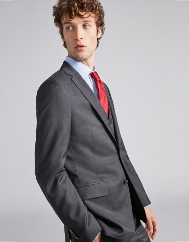 Blue checked, slim fit wool suit