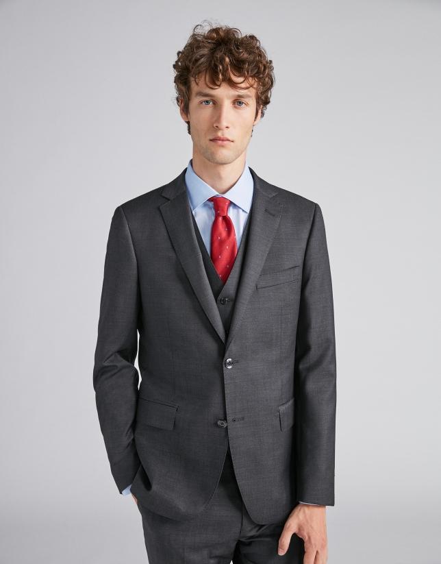 Traje slim fit lana gris oscuro