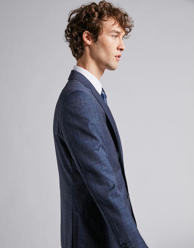 Blue half-canvas regular fit suit