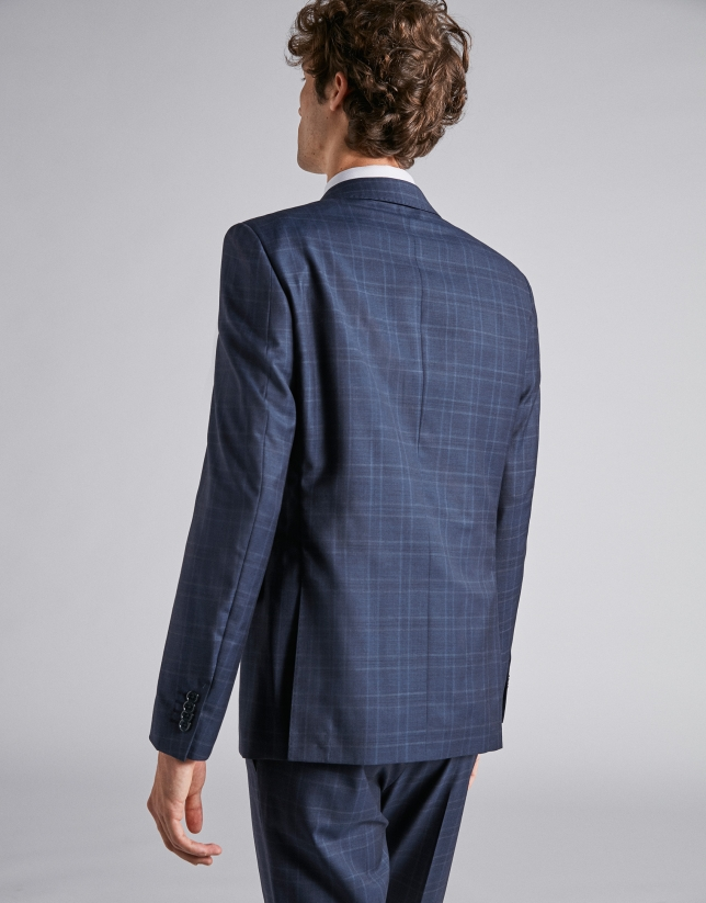 Traje slim fit lana cuadros azul