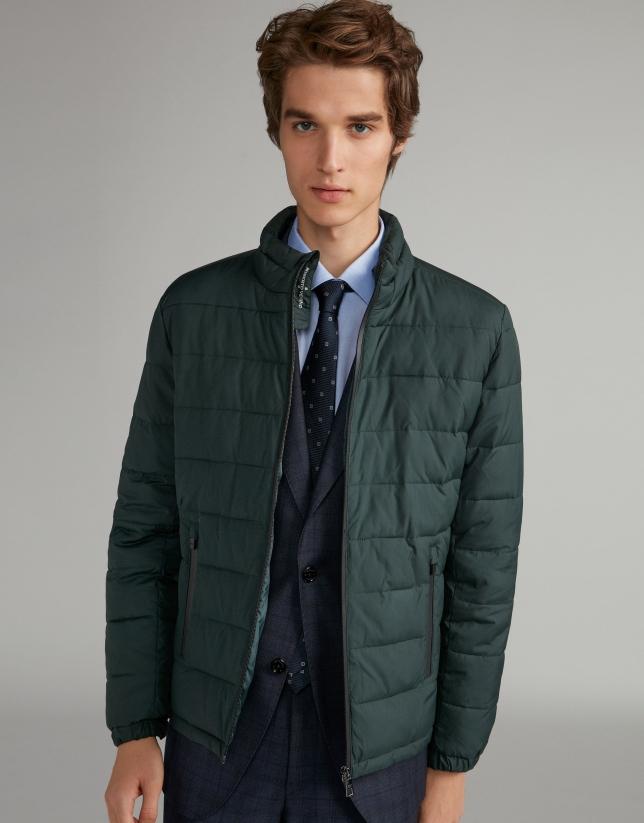 Khaki tech ski jacket with details on zippers