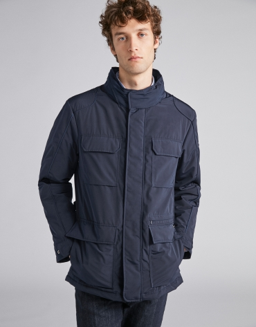 Navy blue tech parka with inside knit collar