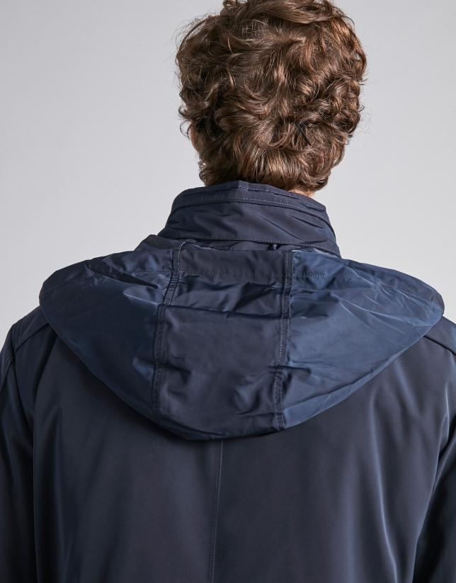 Parka technique bleu marine avec col intérieur en maille de tricot