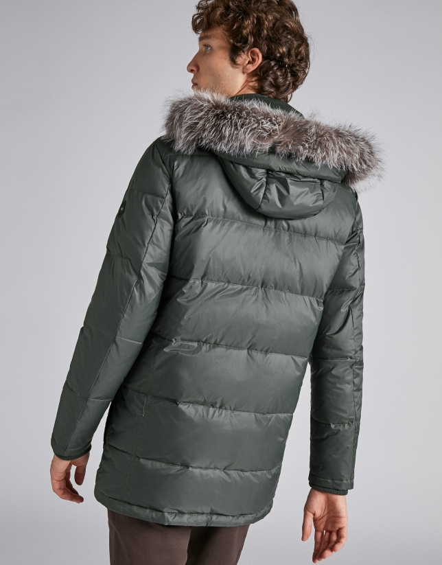 Khaki ski jacket with detachable hood
