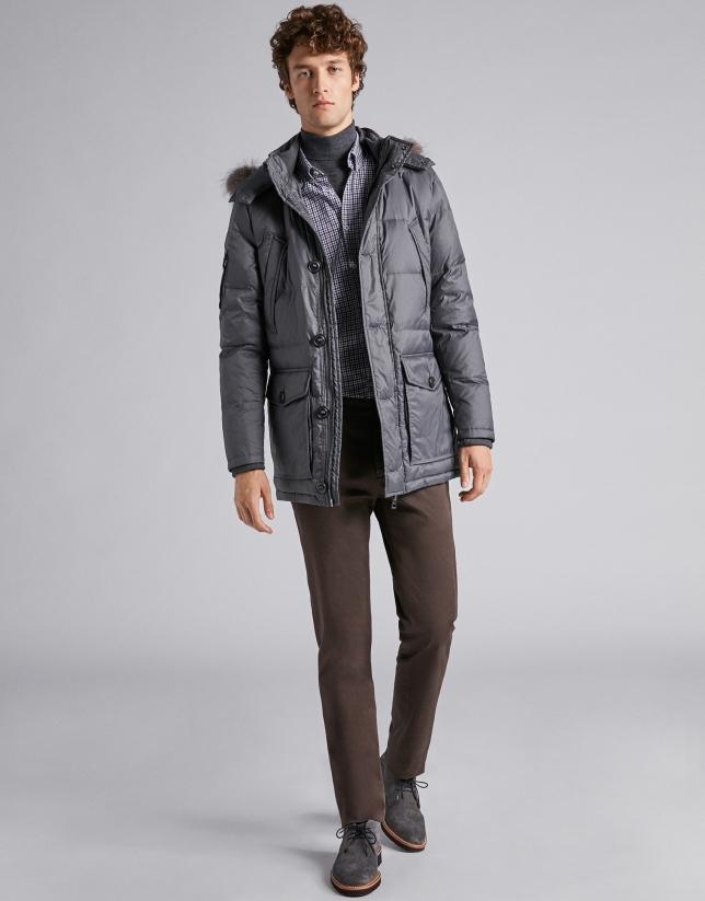 Dark gray ski jacket with detachable hood