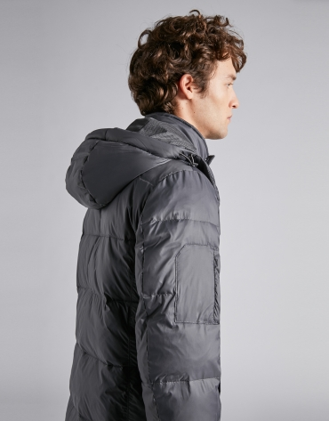 Dark gray ski jacket with detachable hood