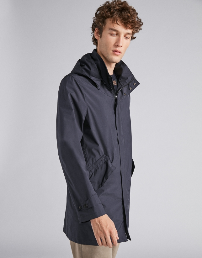 Parka technique minimale bleu marine