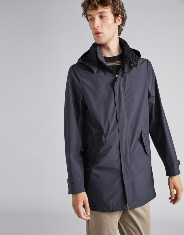 Navy blue, minimal tech parka
