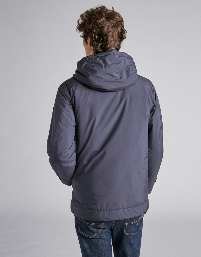 Navy blue tech, waterproof parka with zippers