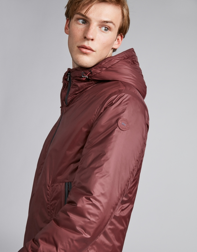 Burgundy tech, waterproof parka with zippers