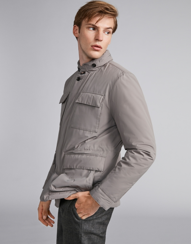 Beige minimal tech jacket