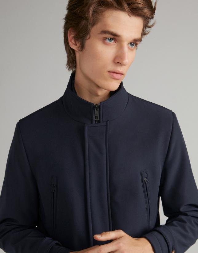 Navy blue neoprene coat with detachable bib
