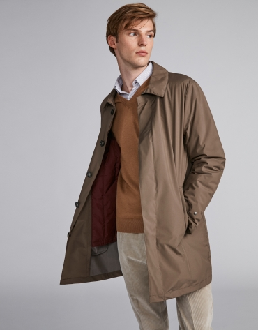 Brown gabardine with detachable lining