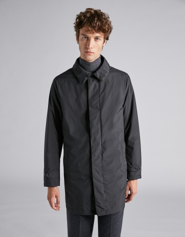 Black gabardine with detachable lining