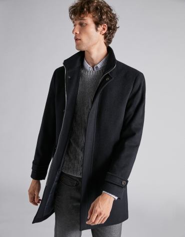 Navy blue wool jacket with detachable bib