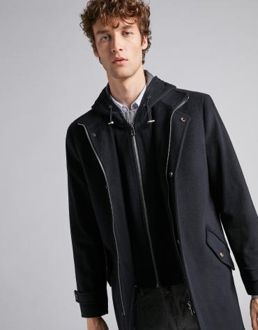 Manteau en laine bleu marine avec plastron amovible