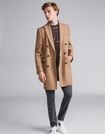 Camel wool, double-breasted coat