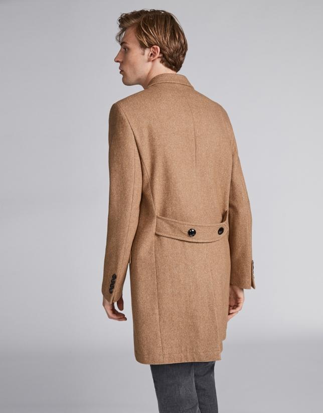Manteau croisé en laine camel