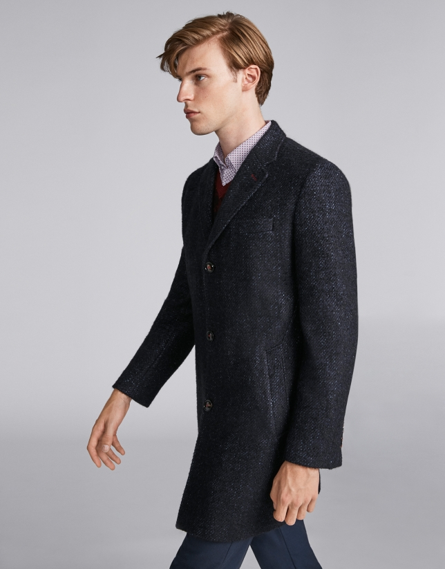 Blue coat with three buttons
