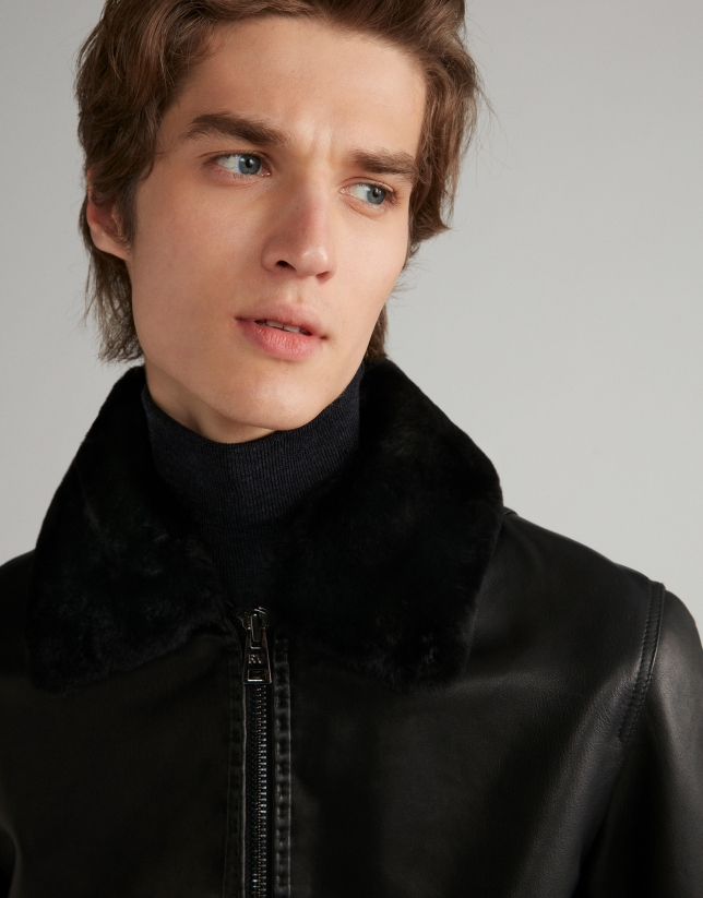 Black leather bomber jacket with removable collar
