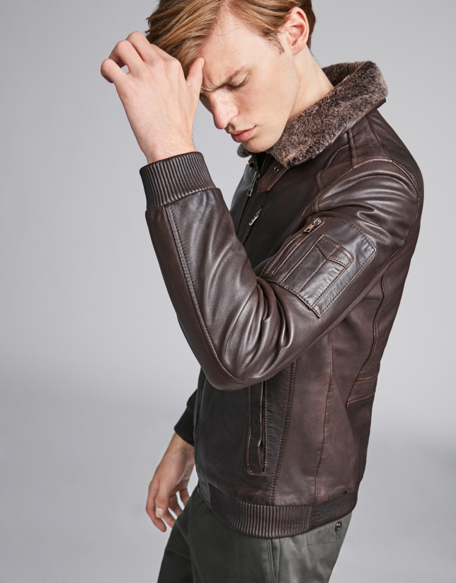Brown leather aviator jacket