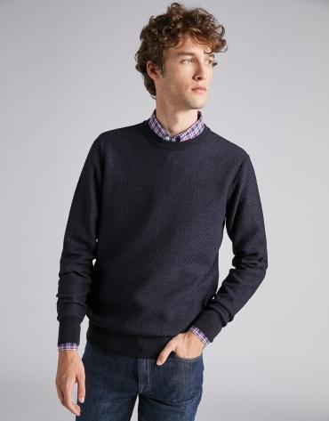 Pull en laine structurée bleu marine